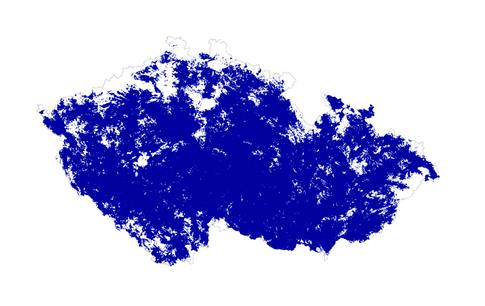 Mapa pokrytí O2 Internetem