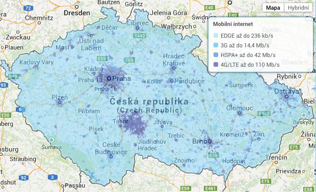 Mapa pokrytí - mobilní internet O2